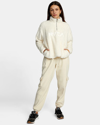 3 Relaxed RVCA Quarter Zip Sweater White AVJSF00178 RVCA