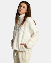 4 Relaxed RVCA Quarter Zip Sweater White AVJSF00178 RVCA
