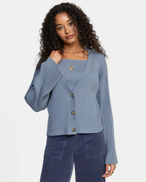 0 Charmed Cardigan Sweater Blue AVJSW00122 RVCA