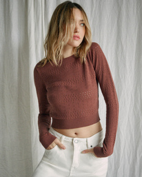 0 Camille Rowe | Paris Pointelle Sweater Brown AVJSW00128 RVCA