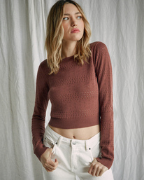 4 Camille Rowe | Paris Pointelle Sweater Brown AVJSW00128 RVCA