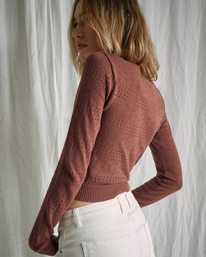 6 Camille Rowe | Paris Pointelle Sweater Brown AVJSW00128 RVCA
