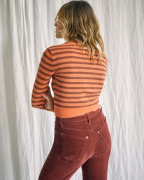 6 Camille Rowe   Paris Pointelle Sweater Orange AVJSW00128 RVCA