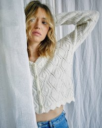 2 Camille Rowe | Cafe Cardigan Sweater White AVJSW00129 RVCA