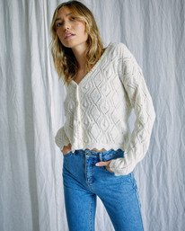 0 Camille Rowe | Cafe Cardigan Sweater White AVJSW00129 RVCA