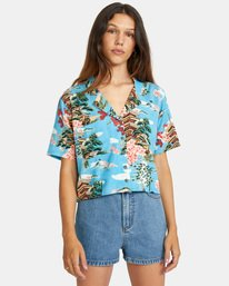 2 Vacay Button-Down Top Brown AVJWT00136 RVCA