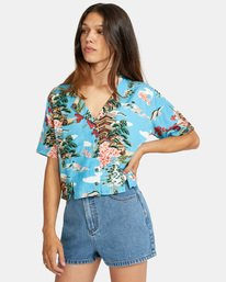 5 Vacay Button-Down Top Brown AVJWT00136 RVCA