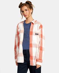 3 Decades Zip-Up Flannel Shirt Brown AVJWT00138 RVCA