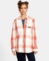 1 Decades Zip-Up Flannel Shirt Brown AVJWT00138 RVCA