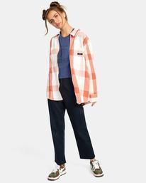 4 Decades Zip-Up Flannel Shirt Brown AVJWT00138 RVCA