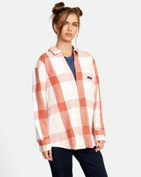 6 Decades Zip-Up Flannel Shirt Brown AVJWT00138 RVCA