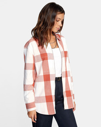 7 Decades Zip-Up Flannel Shirt Brown AVJWT00138 RVCA