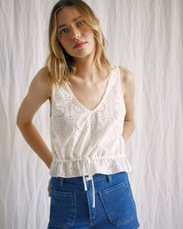 2 Camille Rowe | Mia Crop Top White AVJWT00144 RVCA