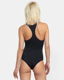 1 VA Essential Solid Medium Coverage Racerback One Piece Swimsuit Black AVJX100108 RVCA