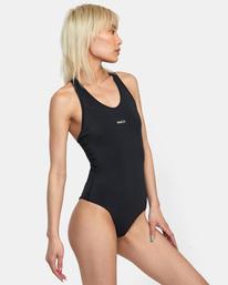 5 VA Essential Solid Medium Coverage Racerback One Piece Swimsuit Black AVJX100108 RVCA