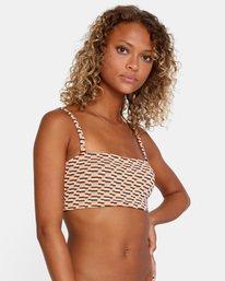 6 Cosmic Way Printed Removable Strap Bandeau Bikini Top White AVJX300167 RVCA