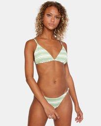 0 Ziggy Printed Crossback Slider Strap Triangle Bikini Top White AVJX300180 RVCA