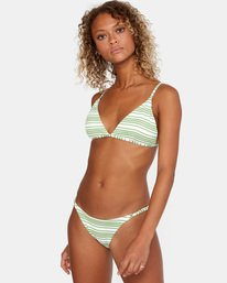3 Ziggy Printed Crossback Slider Strap Triangle Bikini Top White AVJX300180 RVCA