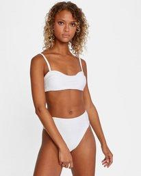 2 La Jolla Textured Bandeau Bralette Removable Strap Bikini Top White AVJX300186 RVCA
