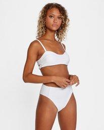 5 La Jolla Textured Bandeau Bralette Removable Strap Bikini Top White AVJX300186 RVCA