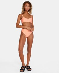 5 La Jolla Textured Bandeau Bralette Removable Strap Bikini Top Orange AVJX300186 RVCA