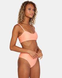6 La Jolla Textured Bandeau Bralette Removable Strap Bikini Top Orange AVJX300186 RVCA