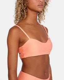 7 La Jolla Textured Bandeau Bralette Removable Strap Bikini Top Orange AVJX300186 RVCA
