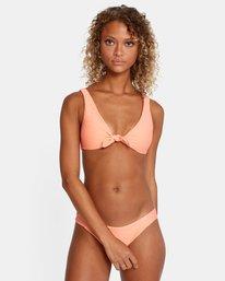 2 La Jolla Textured Tie Front Bikini Top Orange AVJX300187 RVCA