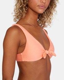 6 La Jolla Textured Tie Front Bikini Top Orange AVJX300187 RVCA