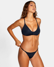 5 Solid Crossback Tie D-Cup Bikini Top Black AVJX300198 RVCA
