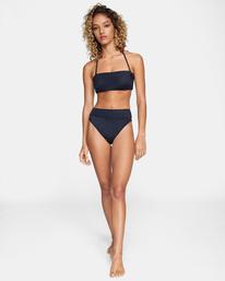 3 Solid Tie-Back Halter Bandeau Bikini Top Black AVJX300208 RVCA