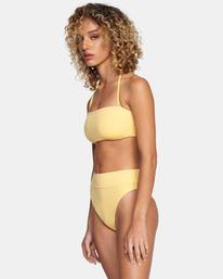 4 Solid Tie-Back Halter Bandeau Bikini Top White AVJX300208 RVCA