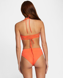 3 Solid Tie-Back Halter Bandeau Bikini Top  AVJX300208 RVCA
