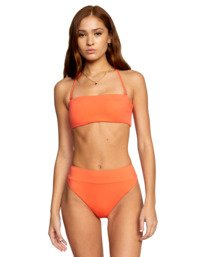 1 Solid Tie-Back Halter Bandeau Bikini Top  AVJX300208 RVCA
