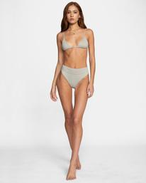 3 Jet Set Printed Tie-Back Triangle Bikini Top White AVJX300219 RVCA