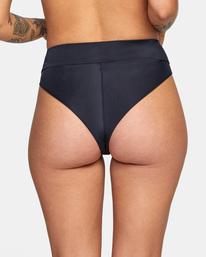 6 Solid High-Rise Cheeky Bikini Bottom Black AVJX400121 RVCA