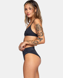 4 Solid High-Rise Cheeky Bikini Bottom Black AVJX400121 RVCA