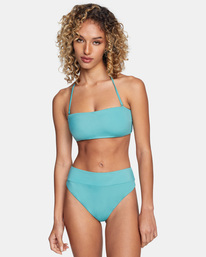 1 Solid High-Rise Cheeky Bikini Bottom Green AVJX400121 RVCA
