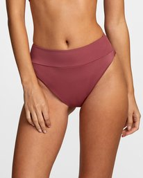 2 Solid High-Rise Cheeky Bikini Bottom Purple AVJX400121 RVCA