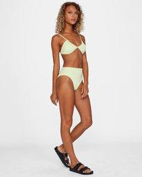 2 Solid High-Rise Cheeky Bikini Bottom Green AVJX400121 RVCA
