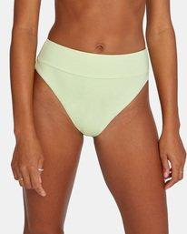 4 Solid High-Rise Cheeky Bikini Bottom Green AVJX400121 RVCA