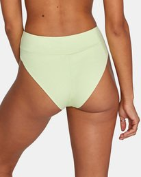 5 Solid High-Rise Cheeky Bikini Bottom Green AVJX400121 RVCA