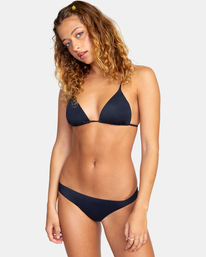 1 Solid Low-Rise Medium Coverage Bikini Bottom Black AVJX400130 RVCA