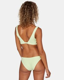1 Solid Low-Rise Medium Coverage Bikini Bottom Green AVJX400130 RVCA