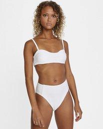 4 La Jolla Textured High-Rise Cheeky Bikini Bottom White AVJX400172 RVCA