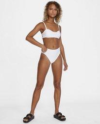 5 La Jolla Textured High-Rise Cheeky Bikini Bottom White AVJX400172 RVCA