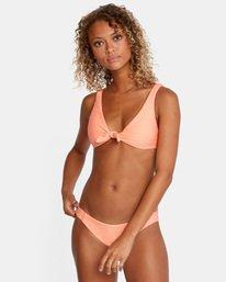 1 La Jolla Textured Low-Rise Medium Coverage Bikini Bottom Orange AVJX400173 RVCA