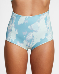 2 Wavelength Printed High-Rise Cheeky Bikini Bottom Blue AVJX400182 RVCA