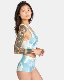 4 Wavelength Printed High-Rise Cheeky Bikini Bottom Blue AVJX400182 RVCA