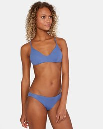 1 Solid Low-Rise Cheeky Bikini Bottom Blue AVJX400189 RVCA